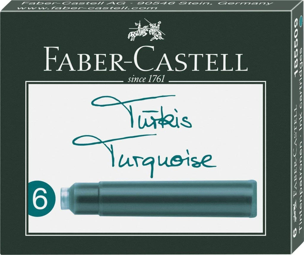 Graf von Faber-Castell Ink Cartridges in Turquoise - Pack of 6 Fountain Pen Cartridges