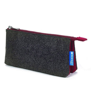 Itoya Profolio Large Midtown Pouch in Charcoal and Maroon Pen Case