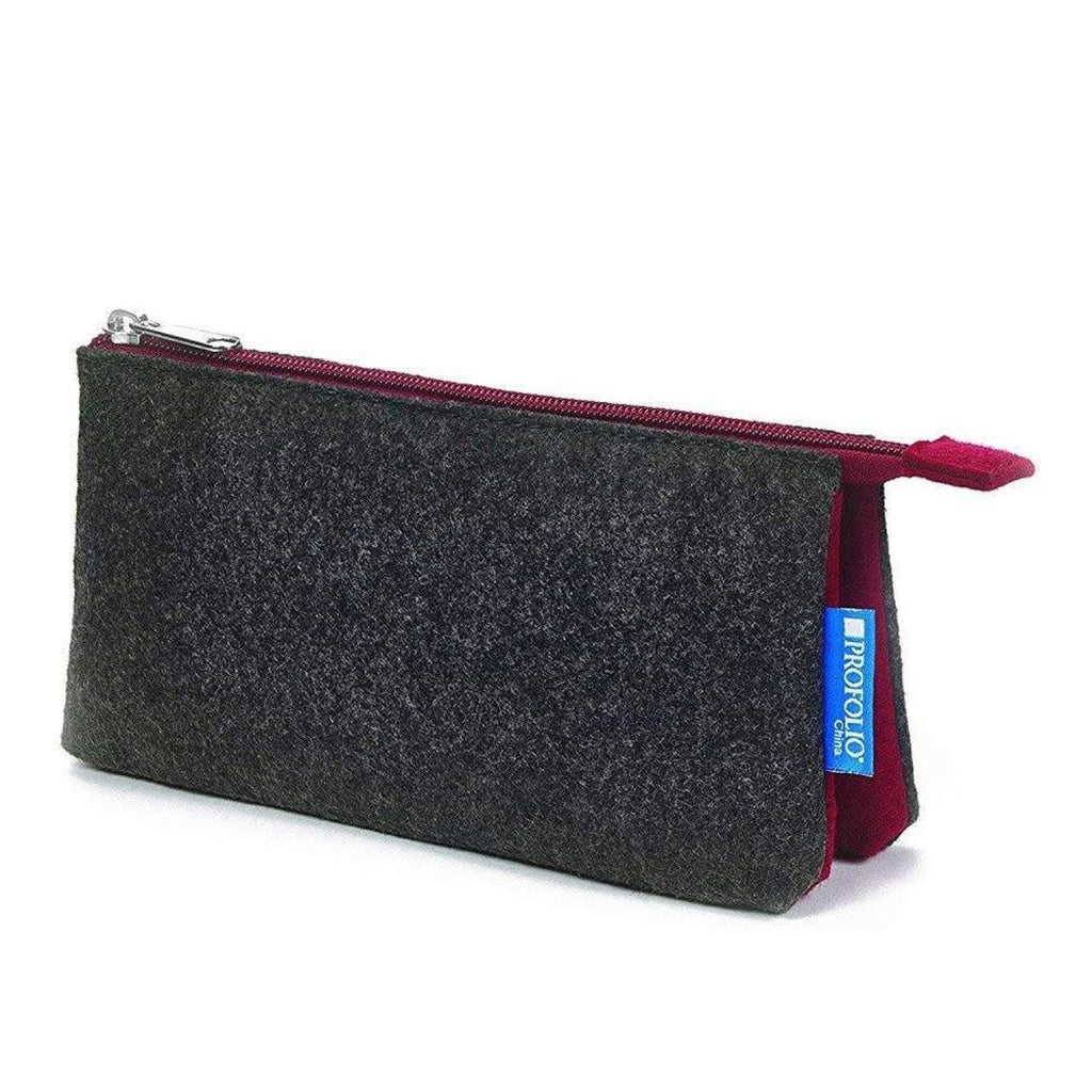 Itoya Profolio Small Midtown Pouch in Charcoal and Maroon Pen Case