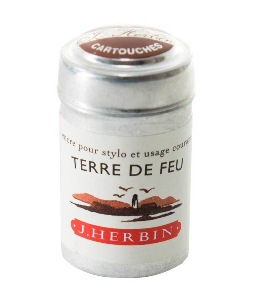 J. Herbin Ink Cartridges in Terre De Feu (Land of Fire) - Pack of 6 Fountain Pen Cartridges