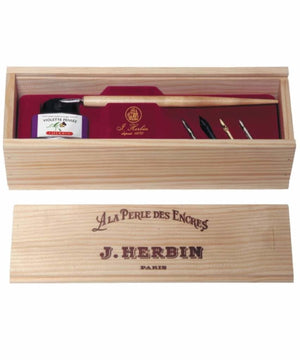 J. Herbin La Perle des Encres Wooden Box Set in Vintage with Violet Ink Dip Pen