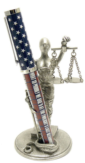 Jac Zagoory Pen Stand in Scales of Justice Accessory