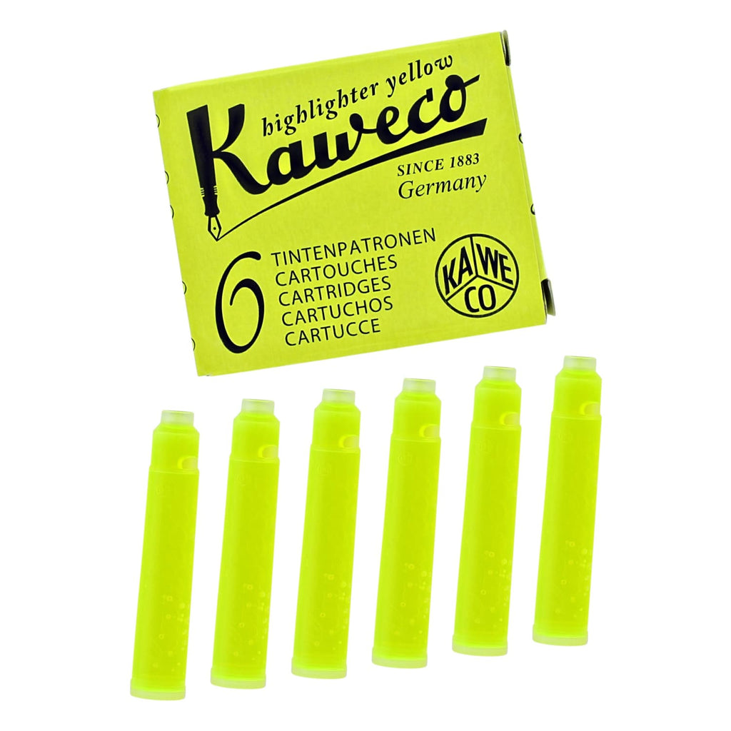 Kaweco Ice Ink Cartridges Short in Glowing Yellow - Pack of 6 Fountain Pen Cartridges