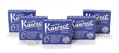Kaweco Ink Cartridges in Royal Blue - 5 Sets of 6 Fountain Pen Cartridges