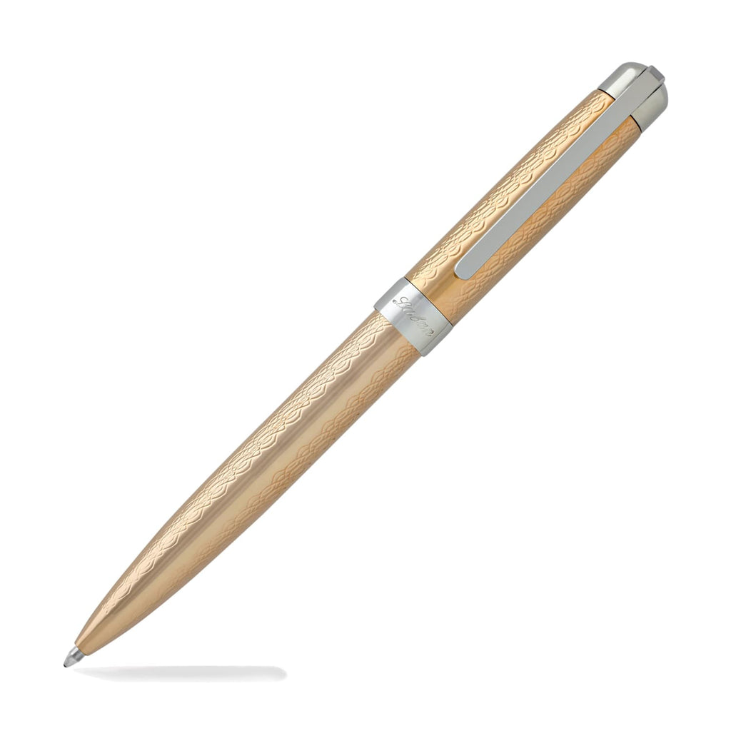Laban Gold and Rose Gold Ballpoint Pen in Rose Gold with Guilloche Ballpoint Pen