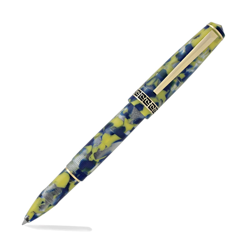 Laban Grecian Rollerball Pen in Blue and Yellow Marbled Pen