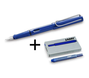 Lamy Safari Blue Fountain Pen Gift Set With Blue Ink Cartridges Gift Set