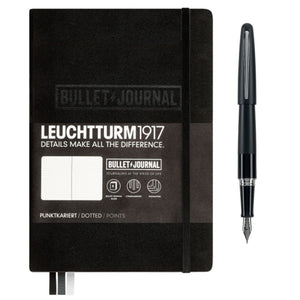 Leuchttrum 1917 Bullet Journal and Pilot Metropolitan Fountain Pen in Black - A5 & Medium Point Gift Set