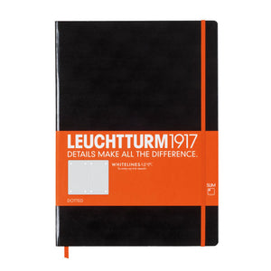 Leuchtturm1917 Whitelines Master Slim Hardcover Notebooks in Black - A4 Notebook