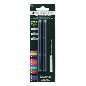 Monteverde Ink Cartridges International Size in Blue - Pack of 6 Fountain Pen Cartridges