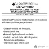 Monteverde Ink Cartridges International Size in Red - Pack of 6 Fountain Pen Cartridges