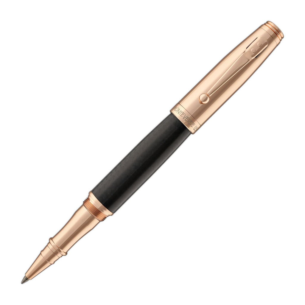 Monteverde Invincia Rollerball Pen in Rose Gold with Carbon Fiber Rollerball Pen