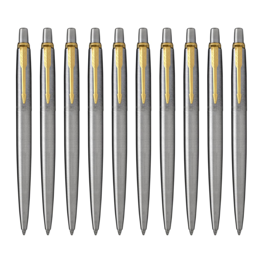 Parker Jotter Ballpoint Pen in Stainless Steel with Gold Trim - Pack of 10 Ballpoint Pen