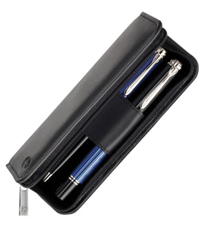 Pelikan 2 Pen Case Nappa Leather in Black Pen Case