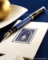Pelikan Souveran M800 Fountain Pen in Black & Blue with Gold Trim - 18K Gold Medium Point Fountain Pen