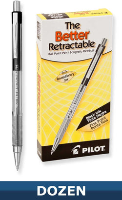 Pilot Better Retractable Ballpoint Pen Pack of 12 in Black - Fine Point Ballpoint Pen