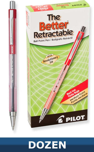 Pilot Better Retractable Ballpoint Pen Pack of 12 in Red - Medium Point Ballpoint Pen