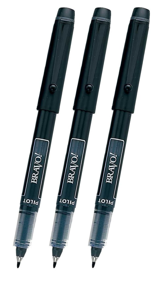 Pilot Bravo Liquid Ink Markers in Black - Bold Point - Pack of 3 Marker