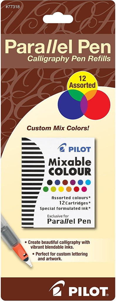 Pilot Calligraphy Parallel Pen Ink Cartridges in Assorted Colors - Pack of 12 Fountain Pen Cartridges