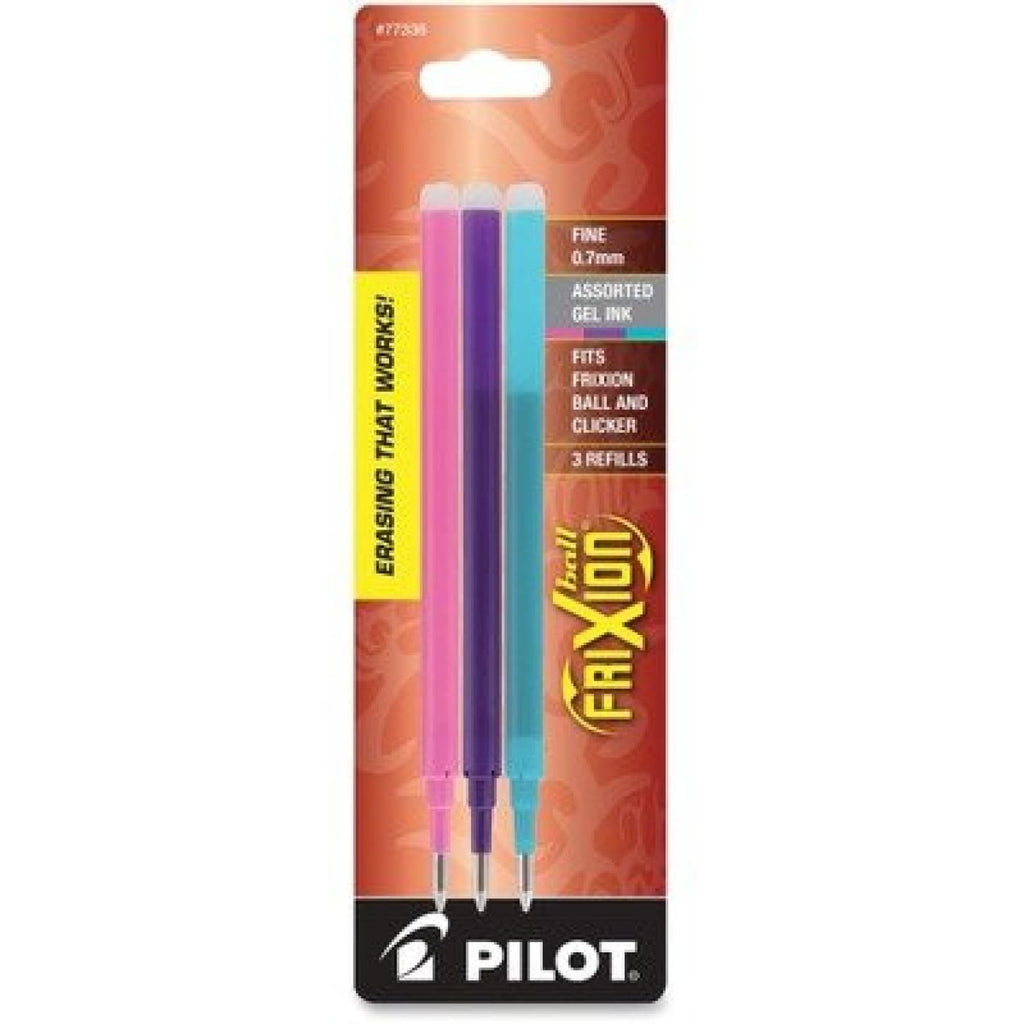 Pilot Frixion Erasable Ballpoint Pen Refill in Pink Purple and Turquoise - Pack of 3 Ballpoint Pen Refill
