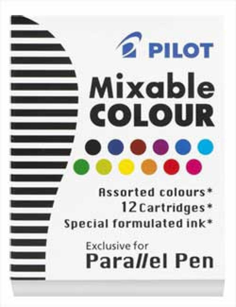 Pilot Parallel Ink Cartridges in Assorted Colors - Pack of 12 Fountain Pen Cartridges