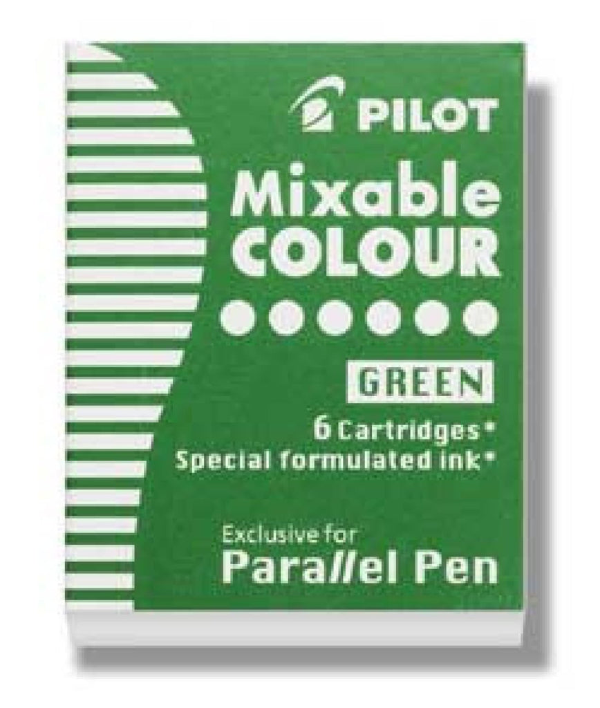 Pilot Parallel Ink Cartridges in Green - Pack of 6 Fountain Pen Cartridges