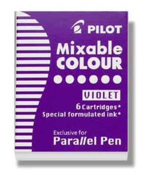 Pilot Parallel Ink Cartridges in Purple - Pack of 6 Fountain Pen Cartridges