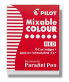 Pilot Parallel Ink Cartridges in Red - Pack of 6 Fountain Pen Cartridges