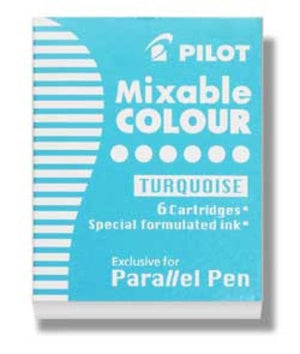 Pilot Parallel Ink Cartridges in Turquoise - Pack of 6 Fountain Pen Cartridges