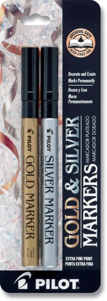 Pilot Permanent Paint Markers in Gold and Silver Metallic - Extra Fine Point - Pack of 2 Marker