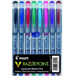 Pilot V Razor Point Marker Pen - Assorted Colors - Pack of 8 Marker