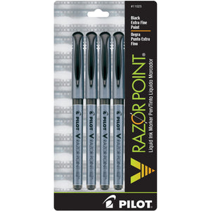 Pilot V Razor Point Marker Pen - Black - Pack of 4 Marker