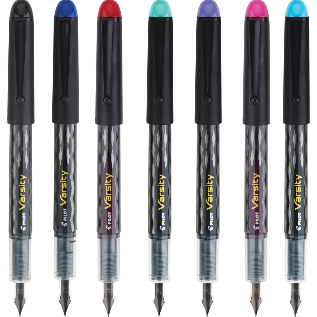 Pilot Varsity Disposable Fountain Pen in Black with Assorted Ink Colors - Medium Point - Pack of 7 Fountain Pen
