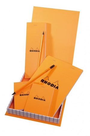 Rhodia Boutique Treasure Box in Orange - Four Notepads and Two Pencils Gift Set