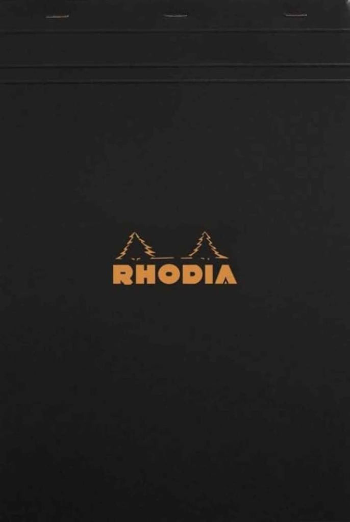 Rhodia Staplebound Blank Paper Notepad in Black - 8.25 x 11.75 Notebook