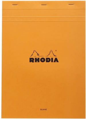 Rhodia Staplebound Blank Paper Notepad in Orange - 8.25 x 11.75 Notepad