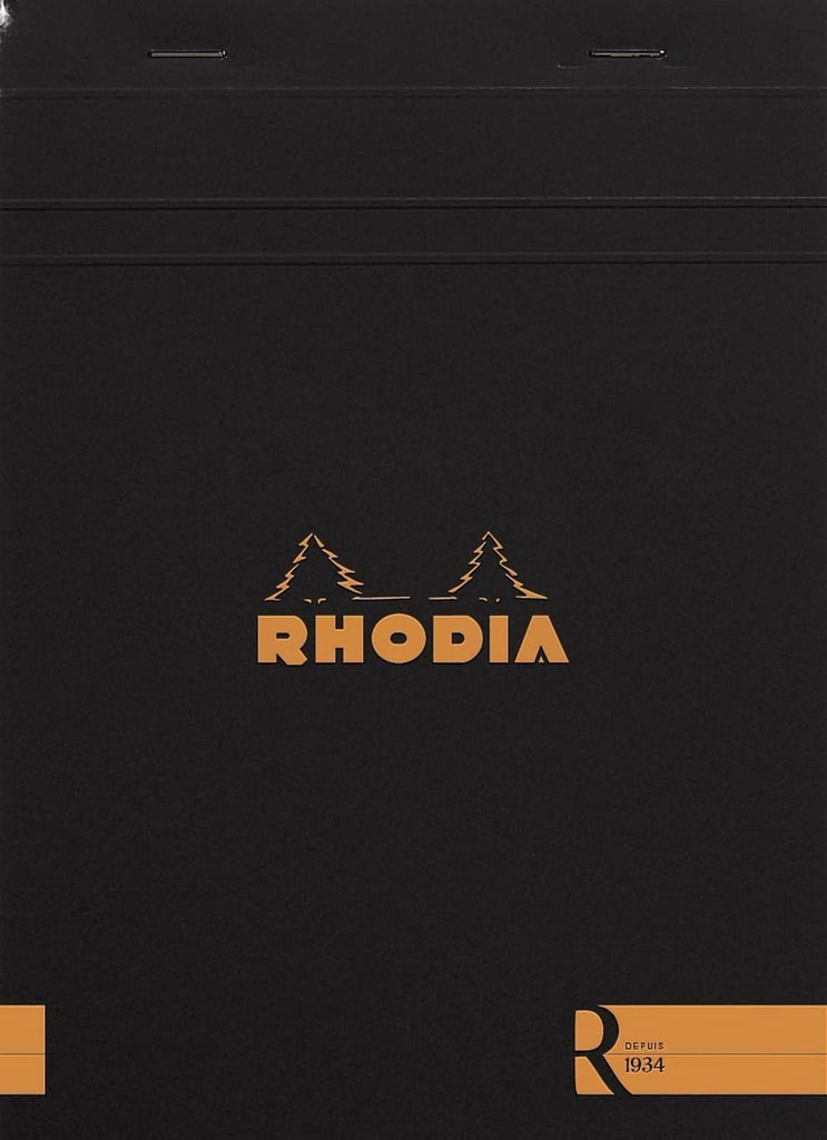 Rhodia Staplebound Blank Paper R Premium Notepad in Black - 6 x 8.25 Notebook