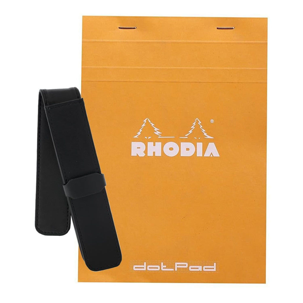 Rhodia Staplebound Graph Paper Notepad in Orange - 6 x 8 1/4 with Single Pen Pouch Gift Set