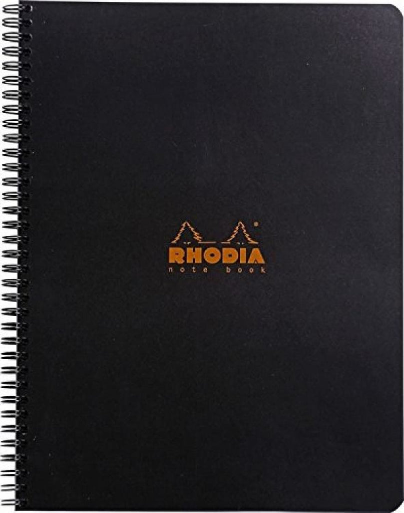Rhodia Wirebound Graph Paper Notebook in Black - 9 x 11.75 Notebook