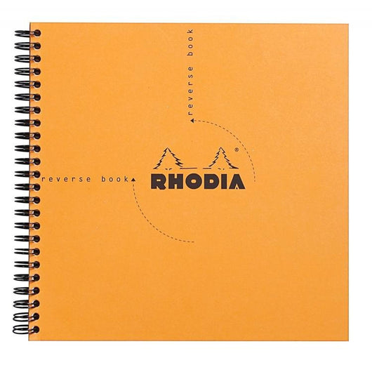 Rhodia Wirebound Graph Paper Reverse Notebook in Orange - 8.25 x 8.25 Notebook