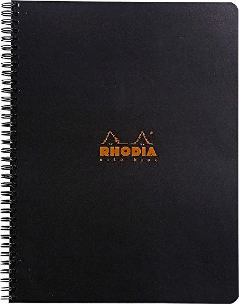 Rhodia Wirebound Lined Paper Notebook in Black - 9 x 11.75 Notebook
