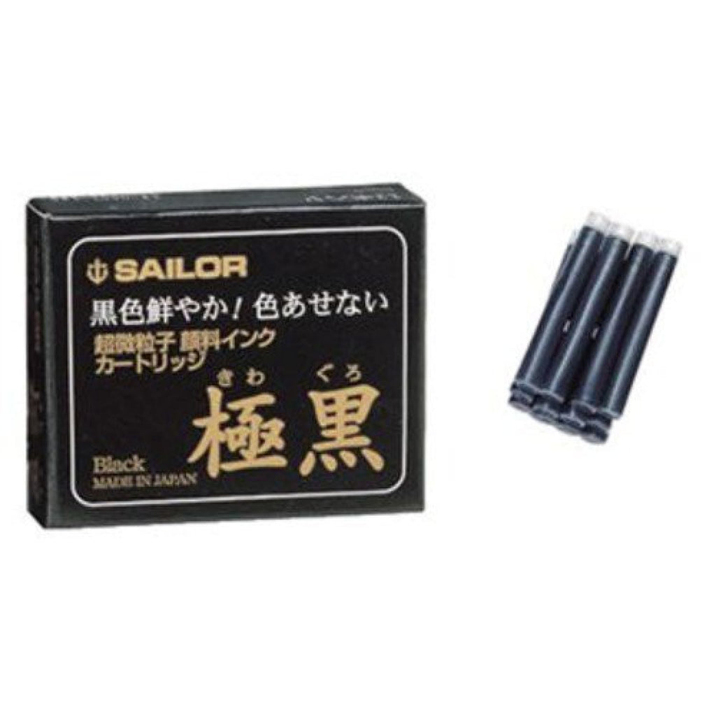 Sailor Kiwa-Guro Ink Cartridges in Black - Pack of 12 Fountain Pen Cartridges