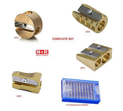Set of 4 Mobius & Ruppert Pencil Sharpeners &10 Replacement Blades Accessory