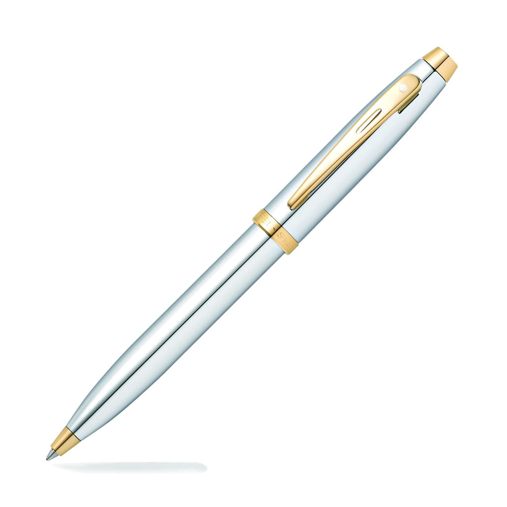 Sheaffer 100 Ballpoint Pen in Chrome with Gold Trim Ballpoint Pen