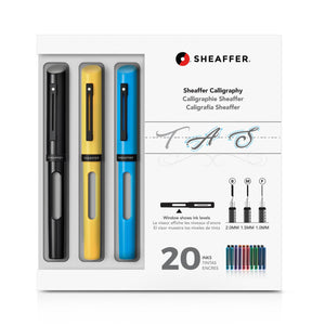 Sheaffer Maxi Calligraphy Kit in Black Yellow and Blue Calligraphy Pen