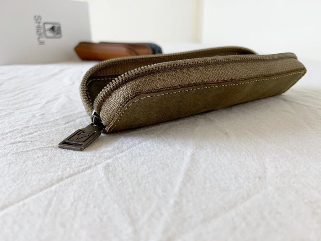 Shibui Single Pen Case in Olive Green Pen Case