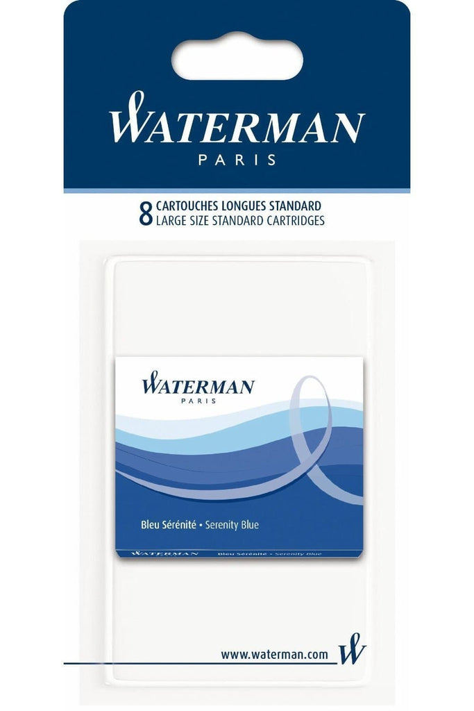 Waterman Ink Cartridges in Serenity Blue - Pack of 8 Fountain Pen Cartridges