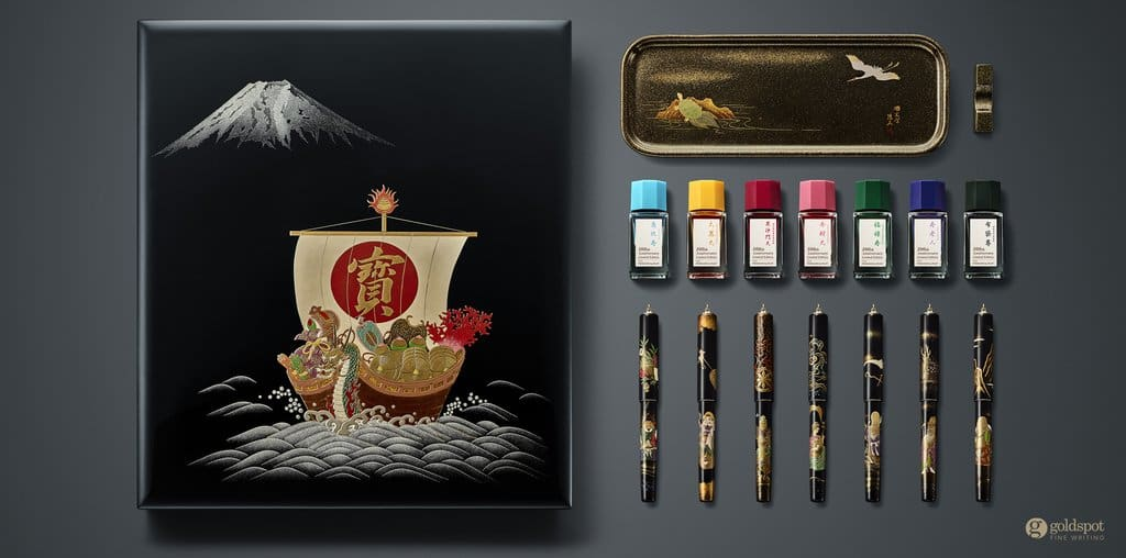 namiki seven gods of good fortune 100th anniversary fountain pen set
