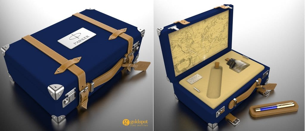 vintage suitcase style packaging for the parker duofold craft of traveling limited edition