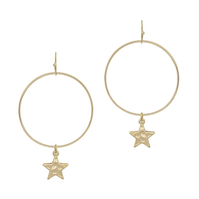 Matte Gold Circle Star Drop Earrings